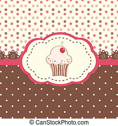 Card menu with cupcake and polka dots background