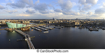 Amsterdam Skyline - The skyline of Amsterdam during a...