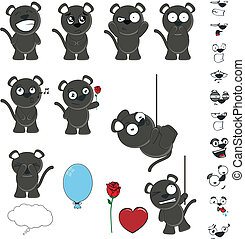 black cat kid set in vector format1 - black cat kid set in...