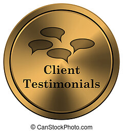 Client testimonials icon - Metallic icon with carved design...