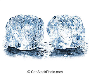 ice cubes with drops isolated on white background closeup