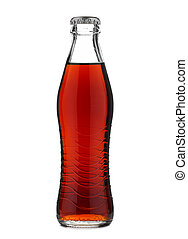 Closed glass bottle with soft drink cola or soda isolated on...