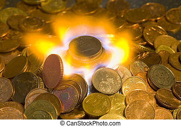 Money to Burn - A glowing red hot coin in front of the blue...