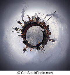 Technology Sphere - Heavy industry theme. A steel plant is a...