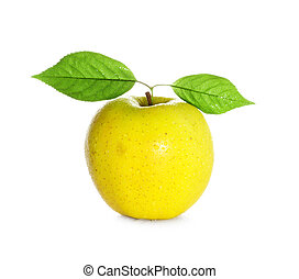 fresh and wet yellow apple with green leaf with water and...