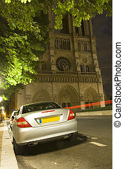 Illegal night parking - A sports car parked illeally at...