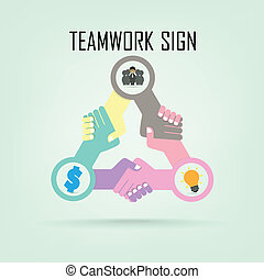 Handshake abstract sign vector design template. Business...