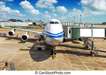Airport - Parked aircraft on shanghai airport through the...