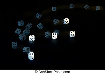Throwing dice - Tumbling dice, captured with a stroboscopic...
