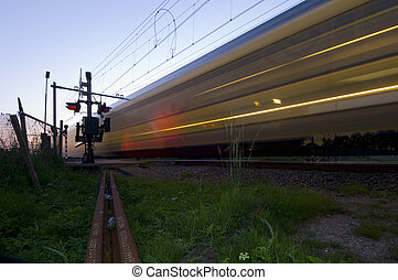Passing train - A train passing a railway intersection at...