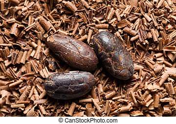 cocoa beans with chocolate shavings
