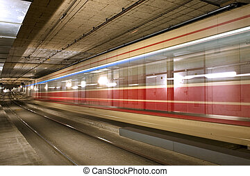 Tram tunnel - A tram disappearing into a tunnel
