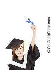 Young graduate girl student holding diploma and hand up