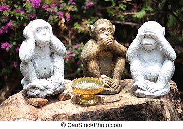 tres, Monos, -, no, hablar, no, Ver, no, oír