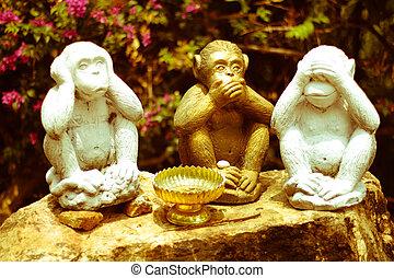 Three Monkeys  - no speak, no see, no hear
