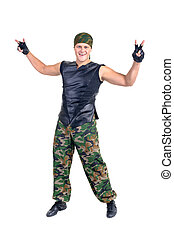 soldier camouflage dancer showing some movements - Disco...