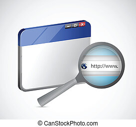 internet browser and magnify search bar illustration design...