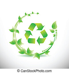 green leaves around a recycle symbol.