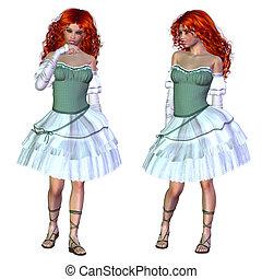 3d Girl in green dress
