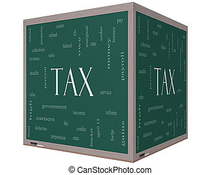 Tax Word Cloud Concept on a 3d cube Blackboard with great...