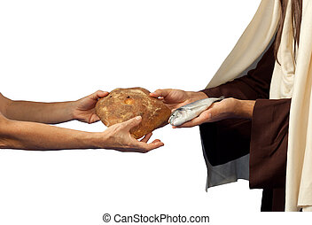 Jesus gives bread and fish on white background
