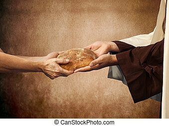 Jesus gives the bread to a beggar. - Jesus gives the bread...