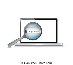 laptop search bar view illustration design over a white...