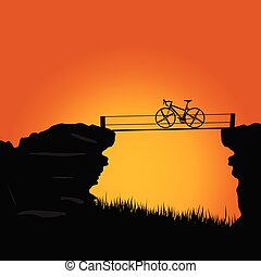 bike on cliff color vector illustration