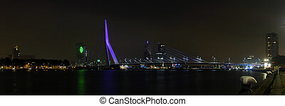 Bridge at Night - The Erasmus Bridge and the Rotterdam...