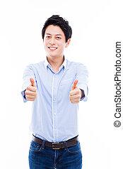 Young Asian man showing thumb. - Young Asian man showing...