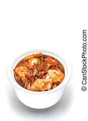 korean cuisine, fermented food Kimchi on white bowl with...