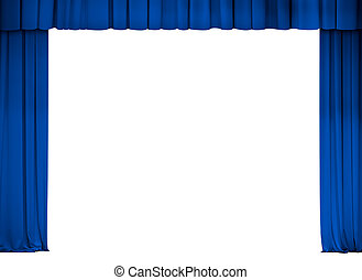 theater or cinema blue curtain frame isolated on white