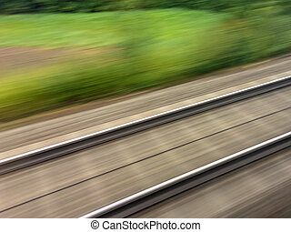 rails of the railway train - tracks and rails out in motion...