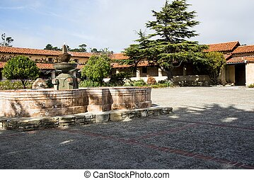carmel Mission - The courtyard of the Mission in Carmel, CA
