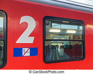 passenger train of the öbb - a wagon of the öbb for the...
