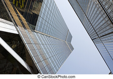 Hong Kong Skyscraper Antagonists - Reflective facade of one...