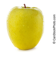 fresh and wet yellow apple with water isolated on a white...