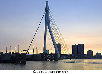 Erasmus Bridge at sunset - The Erasmus Bridge in Rotterdam,...