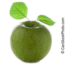 fresh and wet green apple with green leaf with water and...