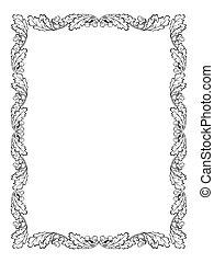 oak leaf frame black silhouette - vector oak leaf frame...