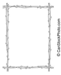 twig sprig frame black white isolated
