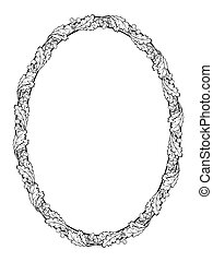 oak leaf oval frame black silhouette