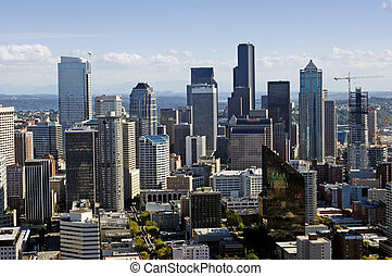 Downtown Seattle view - A view from the space needle on...