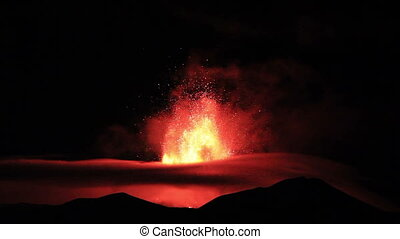 The eruption of Mount Etna Sicily, Italy