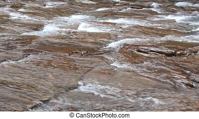 River flowing - View from side of river going down the...