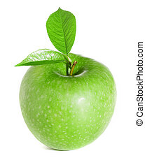 Green apple with leaves isolated on a white background