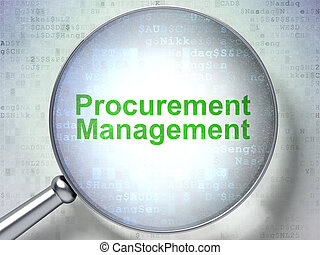 Business concept: Procurement Management with optical glass...