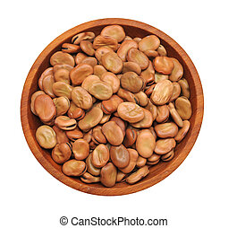 fava beans in wooden bowl  isolated on white background