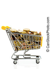 shopping cart with euro coins - a shopping cart is well...