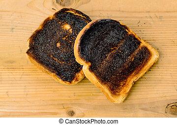 burned toast bread slices - toast was burnt during toasting....